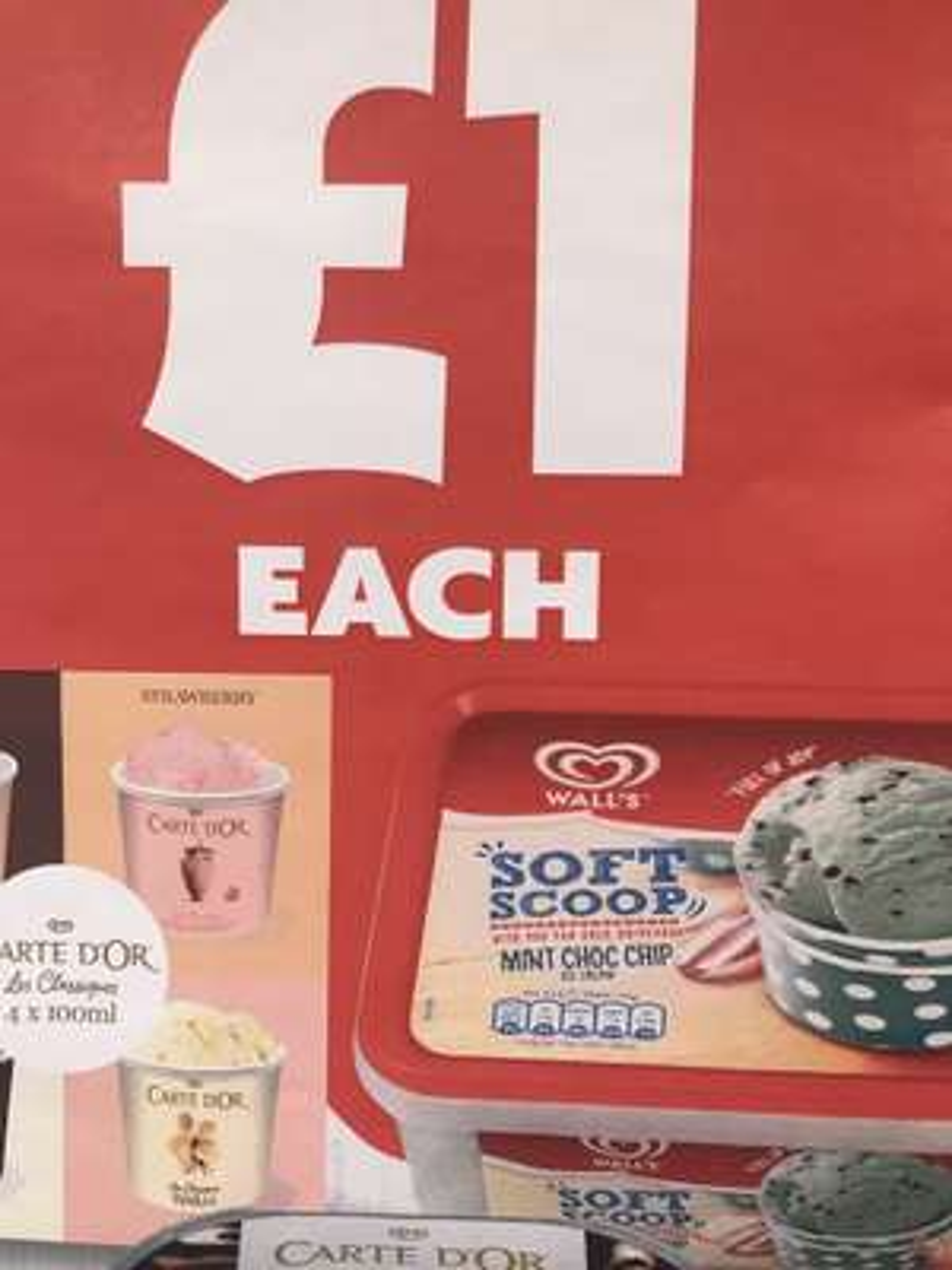 Walls mint choc chip soft scoop ice cream 1.8l - £1 Instore @ Iceland (Partington)