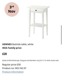 One day only at IKEA Scotland - White Hemnes Bedside Table down from £50 to £20 on 3 November 2019