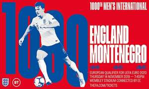 UEFA Euro 2020 Qualifier: England v Montenegro 14th November - 1 adult and 2 juniors - £35 ( £28 with code)  + Others @ Groupon