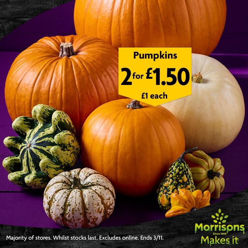 Pumpkins @ Morrison's 2 for £1.50  Instore