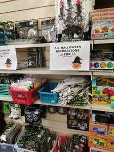 Barnados Charity Shop Peterborough All Halloween decorations 10 for a £1 or 10p each