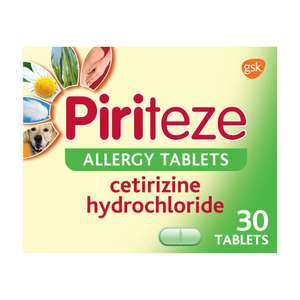 Piriteze Antihistamine Allergy Relief Tablets, Cetrizine 30s - Only 9.60 prime / £14.09 non prime @ Amazon
