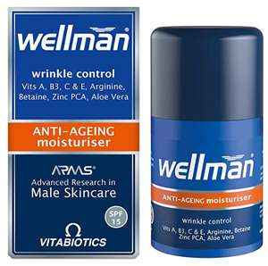 Vitabiotics Wellman Anti-Ageing Moisturiser - 50 ml - £8.37 Prime (+£4.49 non-prime) @ Amazon