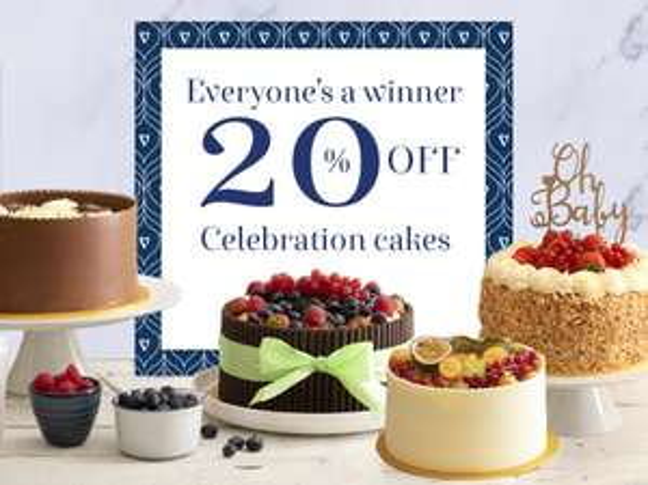 Get 20% Off Celebration Cakes! @ Patisserie Valerie