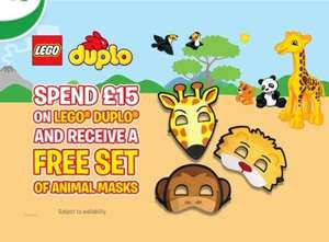 Free Animal Mask Set with Duplo Orders Over £15 (With Code) @ The Entertainer