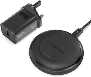 RAVPower 7.5W Wireless Charging pad, 10W Fast Charger All Qi-Enabled Devices+QC 3.0 Adapter for £13.79 - Sold by Sunvalleytek-UK and FBA
