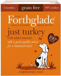 Forthglade 100% Natural Grain Free Complementary Dog Pet Food Just 90% Turkey, 395 g, Pack of 18 2p + £3.99 delivery @ Amazon Pantry