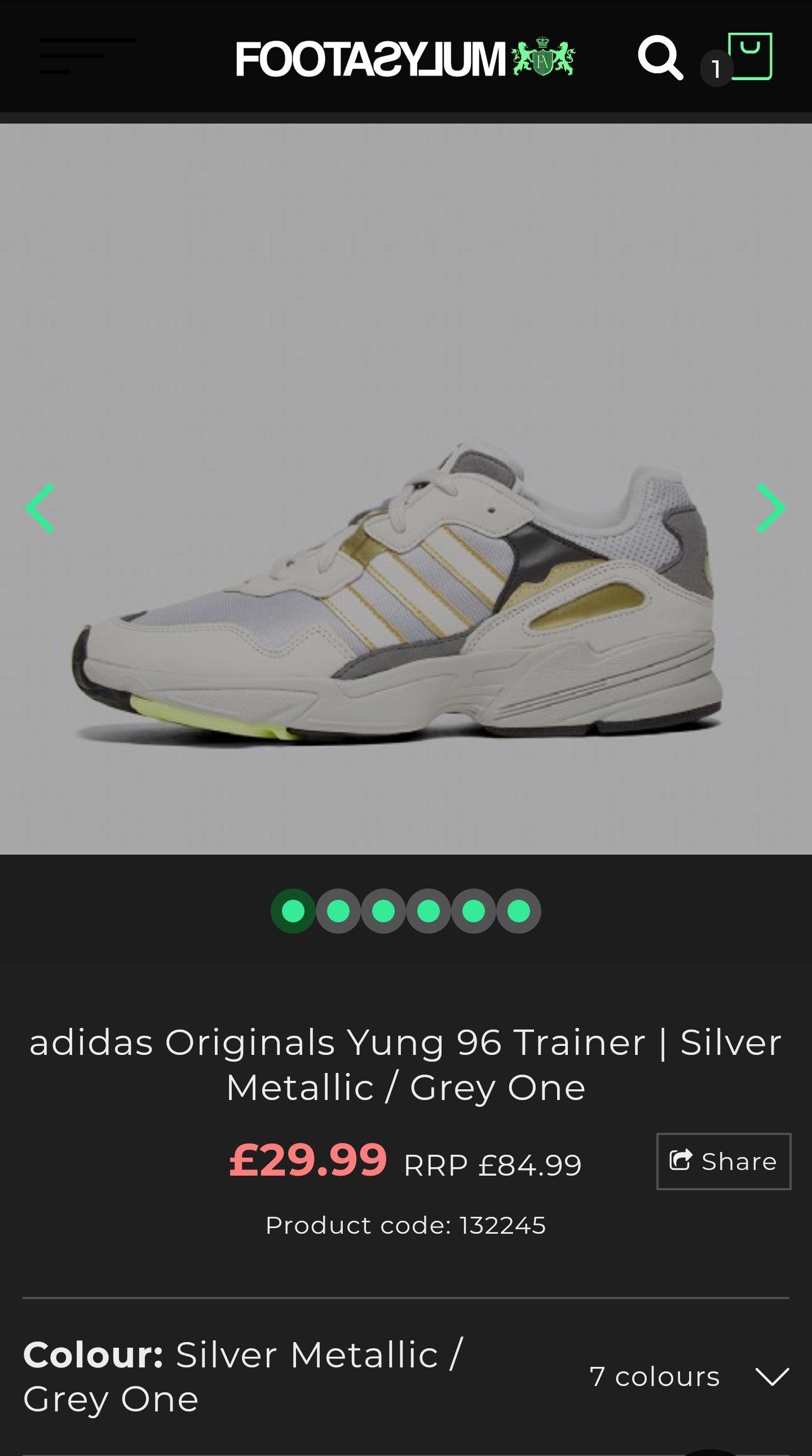 adidas Originals Yung 96 Trainer   Silver Metallic / Grey One