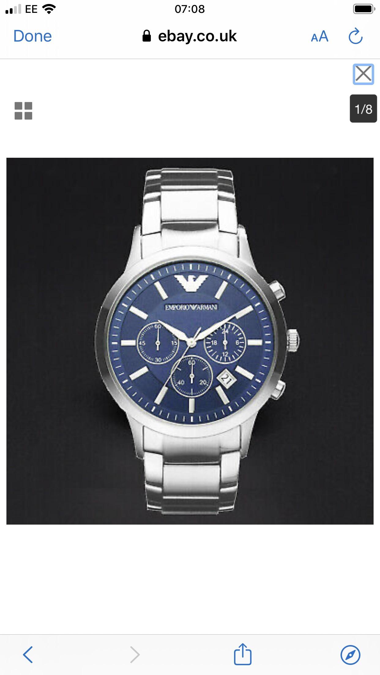 Emporio Armαni AR2448 Watch Quartz Men's Silver Steel Blue Dial 5 Year Warranty £49.99 + free delivery @ Ebay / beyblade_burst