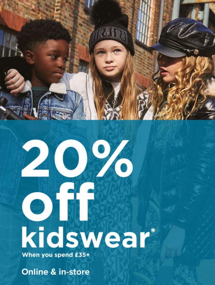 20% Off Kidswear When You Spend £35+ Online & In-store @ River Island