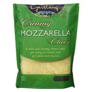 2 FOR £2 Delway Garstang Grated Creamy Mozzarella/ Mellow Mild Cheddar/ Rich Mature Cheddar Cheese 180g pack £1.29 @ Farmfoods (Yardley)