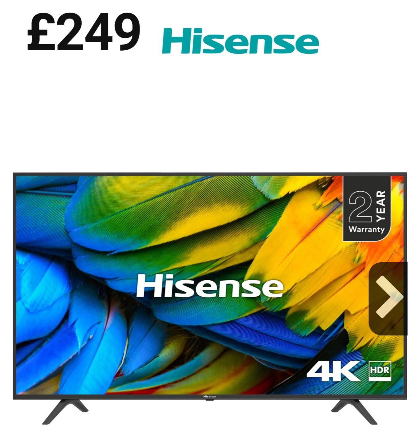 "Hisense 43"" 4K ultra HD Freeview TV H43B7100UK . £249 @ AO ebay or 50"" model for £299"
