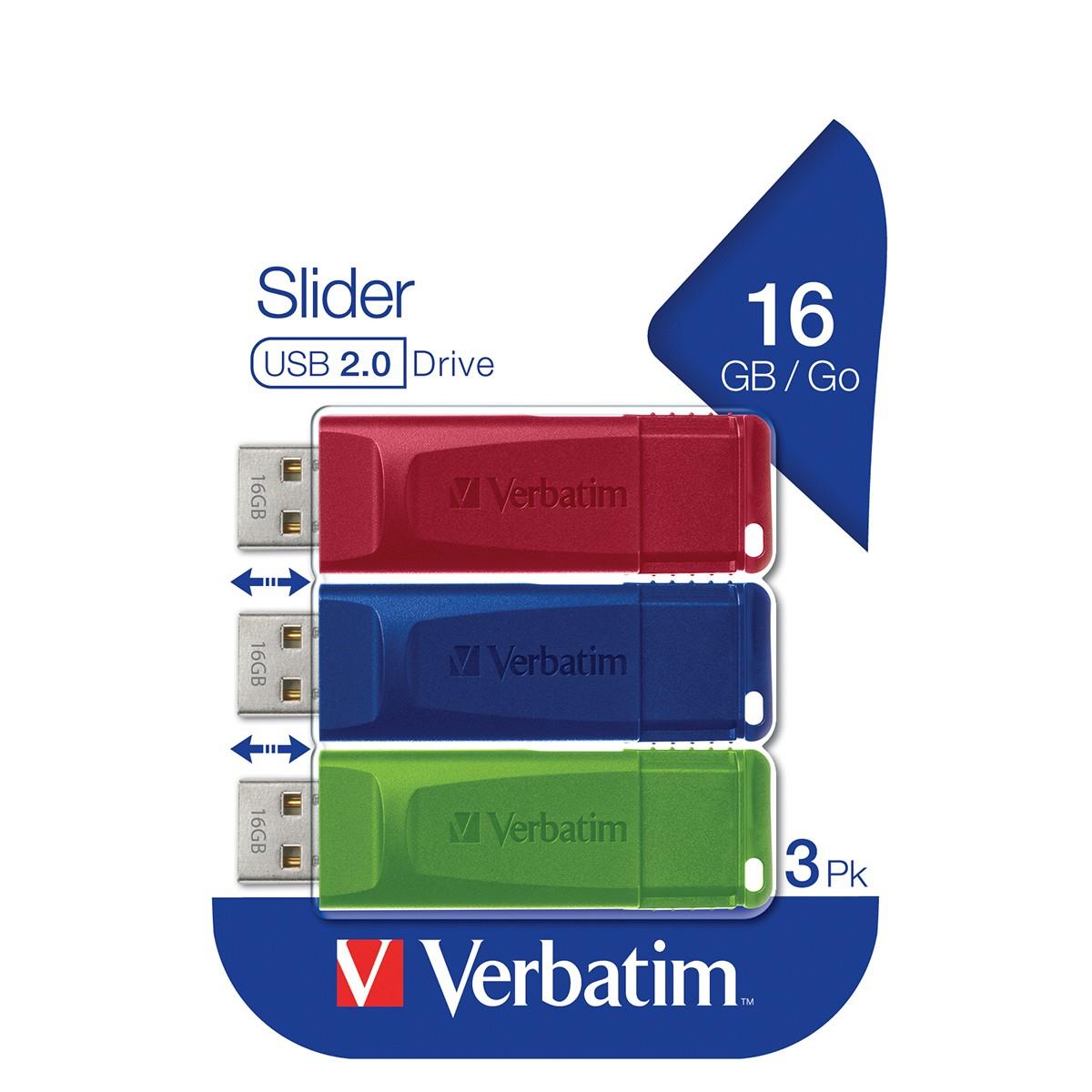 Verbatim 16GB USB Drives 3 Pack - Red, Blue and Green £9.99 @ Robert Dyas