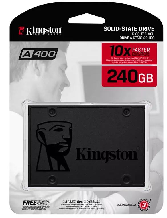 "Kingston 240GB A400 SSD 2.5"" SATA III SSD - 500MB/s + 3 Year Warranty - £24.99 @ MyMemory"