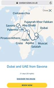 Costa Dubai UAE FROM Savona (Italy) 21 day cruise - £659 @ Costa Cruises