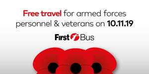 Free Bus Travel for ArmedForces /Veterans /Cadets on Remembrance Sunday with FirstGroup (Possibly national)