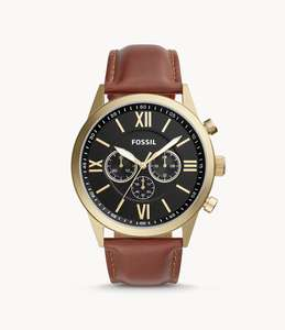 Men's Flynn Chronograph Brown Leather Watch - Free Standard Delivery - £59 at Fossil