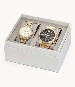Fossil - His & Her Chronograph Gold Tone Stainless Steel Watch Gift Set - Free Standard Delivery £181.30