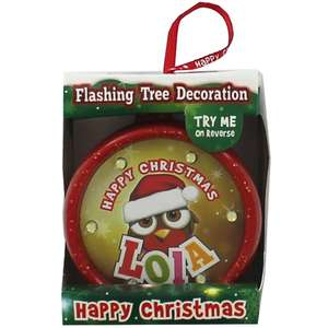 3 x Personalised Flashing Baubles Free C&C £3 at The Works