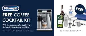 Claim your free Cocktail kit with Purchase of Delonghi Coffee Machine
