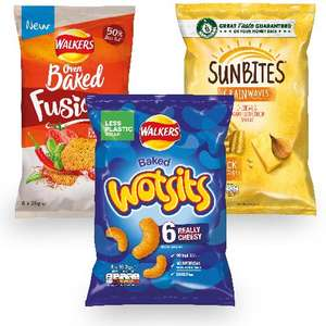 6pk Wotsits, Sunbites Cheddar Cheese Or Walkers Baked Spicy Tomato 79p @ Heron