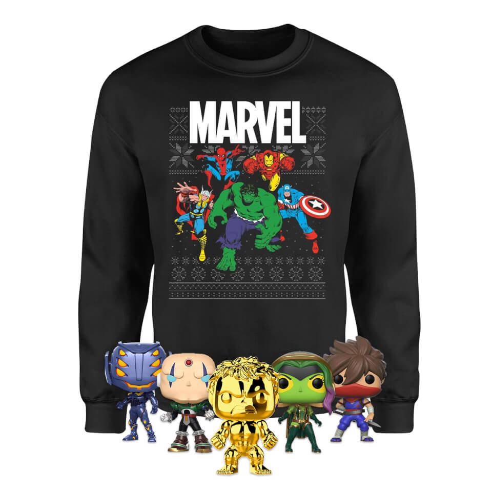 [Preorder] Marvel Mega Christmas Bundle (Sweatshirt + 5 Funko Pop! Vinyl Figures) £26.98 Delivered @ Zavvi