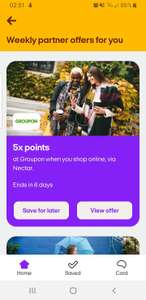 5 x Nectar points on Groupon Spend. Possibly account specific via Nectar App