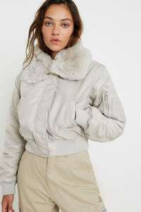 Womens Faux Fur Collar Bomber Jacket (2 Colours) now £28.99 delivered @ Urban Outfitters