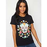Black Embellished Floral Skull T-Shirt Size L Low Stock £4 With Click & Collect @ Asda George