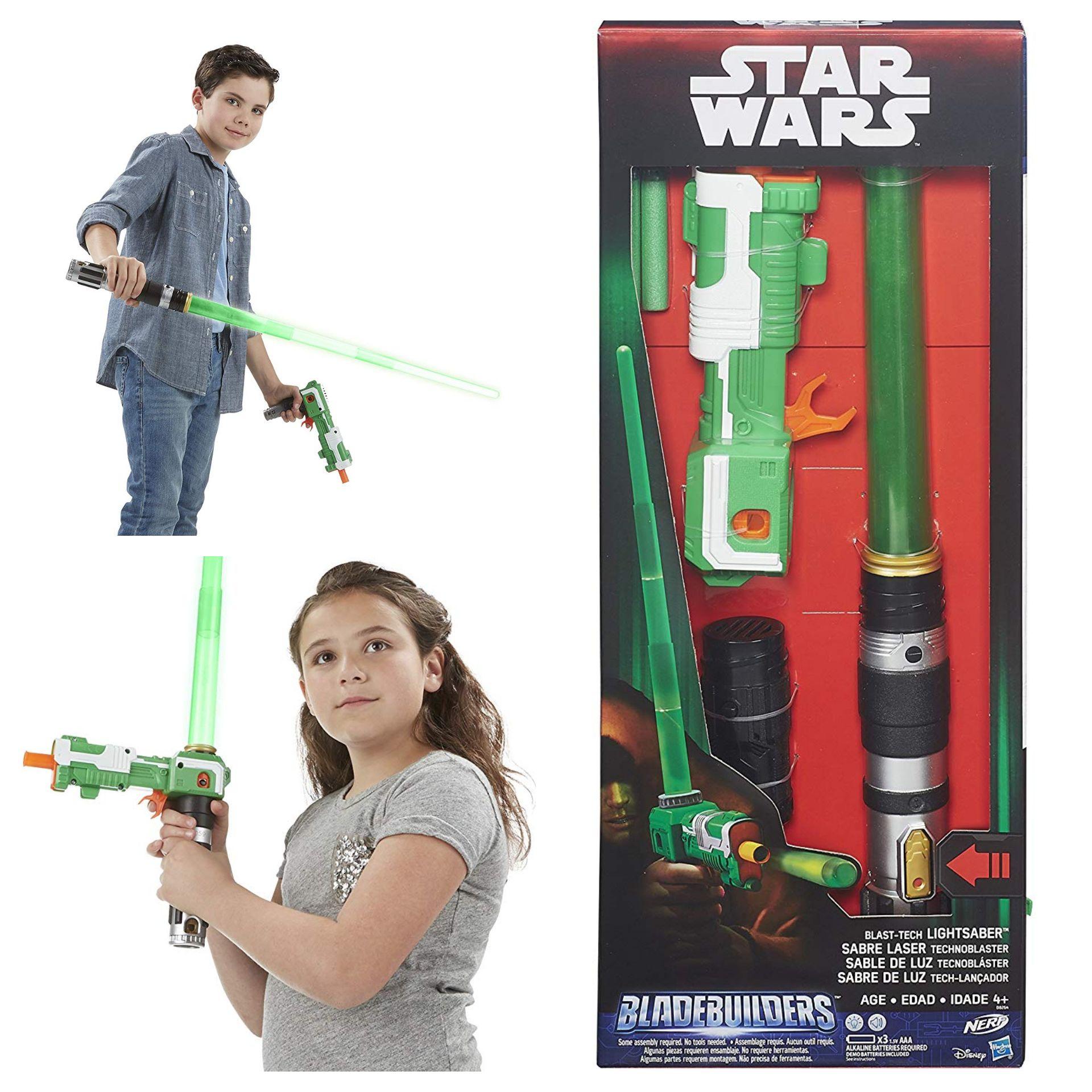 Star Wars Blade Builders Blast Tech Lightsaber (Green) toy with detachable Nerf gun (Amazon add-on)