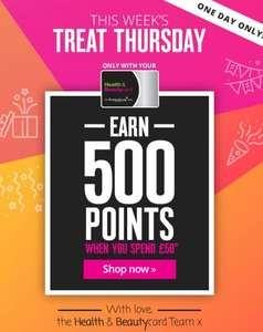 Health & Beauty Card Members Earn 500 Points On £50 Spend (Free Sign Up) @ Superdrug