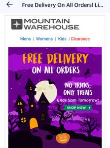 Free delivery using code @ Mountain Warehouse