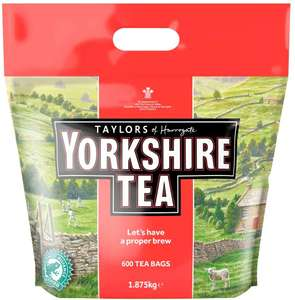 Yorkshire Tea 600 teabags 1.875kg £10.50 @ Amazon. Free del for Prime members or orders >£20 or del £4.49.