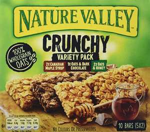 Nature Valley Crunchy Variety Pack Cereal Bars 42g (Pack of 25 bars) (5 packs of 5 bars) - £6.00 Prime (+£4.49 non-prime) @ Amazon