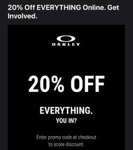 20% OFF OAKLEY check emails may be acc specific