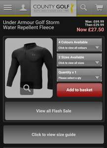 Under Armour Golf Storm Water Repellent Fleece - £24.99 + £3.95 Delivery @ County Golf