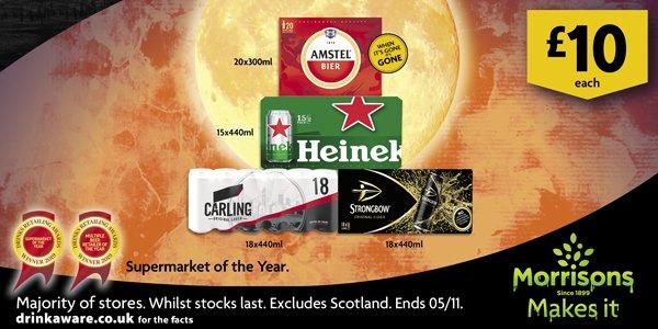 Morrisons Beer & Cider £10 Big Packs e.g Heineken 15x440ml cans £10