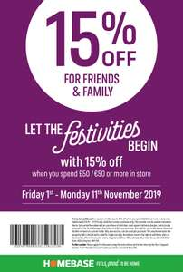 15% off at Homebase with this voucher