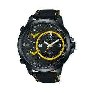 Pulsar Mens Watch Large 48mm 3 Dial 3 Time 100M Leather Strap Model PX8005X1 for £27.75 Delivered @ goto7dayshop/Ebay