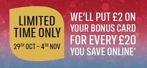 Iceland Bonus Card - Double Savings Bonus £2 for every £20 you save - 29th Oct to 4th Nov (email invite only) @ Iceland