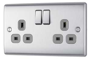 BG Electrical Double Metal Brushed Steel Switched Power Socket £5.57 (+£4.49 NP) Delivered @ Amazon