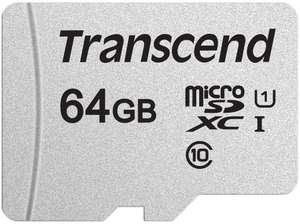 Transcend 64GB microSDXC 300S Memory Card,Class 10,U1,95/40 MB/s R/W for £6.49(+£4.49 Non Prime) @ Amazon UK