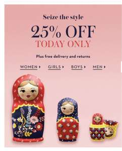 Boden 25% Off One Day Only & Free Delivery