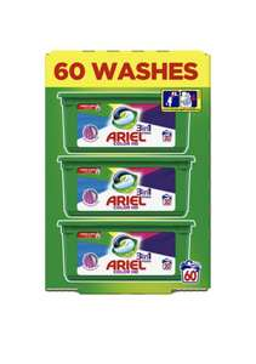 60 Ariel 3 in 1 colour pods (0.10p per tab) £6 at Tesco Bridgend