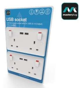 Masterplug USB Double Wall Socket 3.1A - Pack of 2 for £11.98 @ Costco