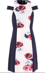 Marc Angelo - Women's Navy Blue Floral Print Cut Shoulder Dress - Free C&C Today - UK 8 & 10 (Available At Time Of Posting) £15 at TK Maxx