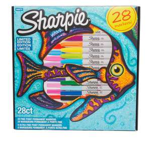 Sharpie Fish Limited Edition Permanent Markers, Fine Nib, Assorted Ink (Pack of 28) £12.99 at WH Smith