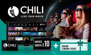 Groupon & Chili Movies Deal - £4.79 (with Code) for £10 Credit Plus 1 Odeon Cinema Ticket at Groupon