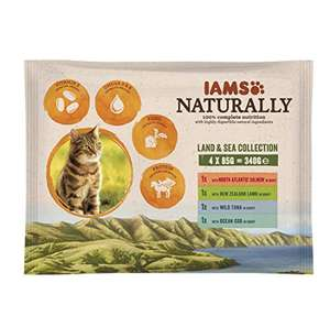 Iams Naturals Land and Sea Collection Adult Cat Food, 4 x 85 g - Pack of 11 £4.62 prime / £9.11 non prime @ Amazon
