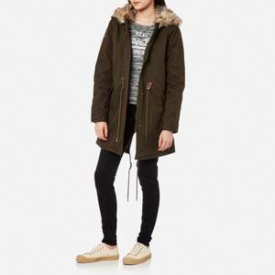 Superdry Women's Borderlands Faux Fur Lined Parka sizes XS / XXS - Olive £37.99 delivered - The Hut